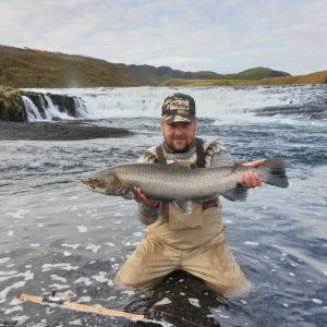Large Sea trout caught fly fishing in Iceland