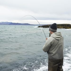 Fishing for trout in Lake Thingvellir
